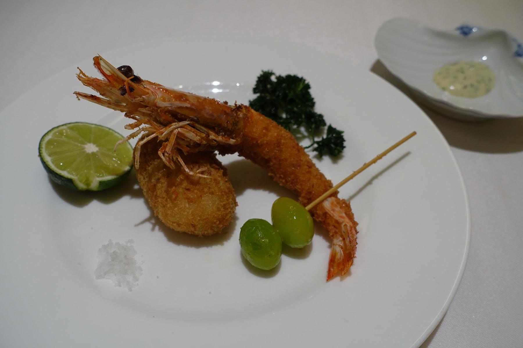 才巻海老のフライ、お芋のコロッケ